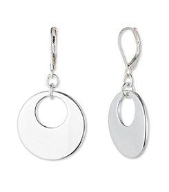 Nine West® Silvertone Gypsy Hoop Drop Earrings