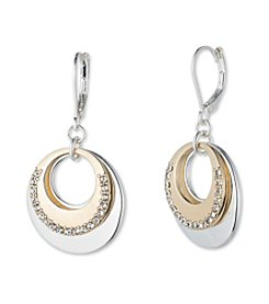 Nine West® Two Tone Gypsy Hoop Drop Earrings