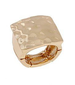 Erica Lyons® Hammered Square Top Fashion Ring