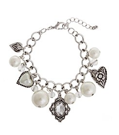 TRUE SENTIMENTS Gift Pearl And Hearts Charm Bracelet
