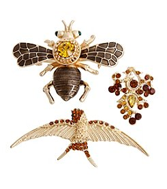 Erica Lyons® Scatter Pin Trio Bird Bee Grapes