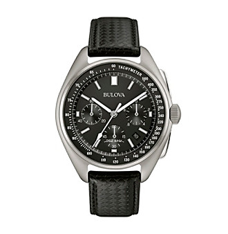 Bulova® Men's Leather Strap Moon Watch