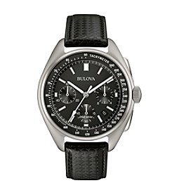 Bulova® Men's Leather Strap Moon Watch