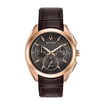 Bulova® Men's Curv Collection Leather Strap Watch