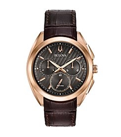 Bulova® Men's Curv Collection Leather Strap Watch