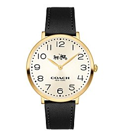 COACH Slim Easton Black Leather Strap Watch