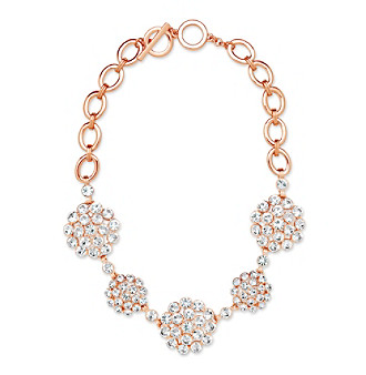 Anne Klein® Rose Goldtone Cluster Frontal Necklace