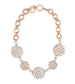 Anne Klein® Rose Goldtone Cluster Frontal Necklace