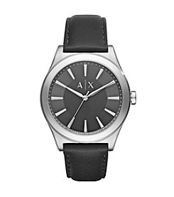 A|X Armani Exchange Black Leather Strap Stainless Steel Watch