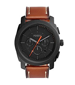 Fossil® Machine Chronograph Luggage Leather Strap Watch