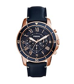 Fossil® Grant Sport Chronograph Blue Leather Strap Watch