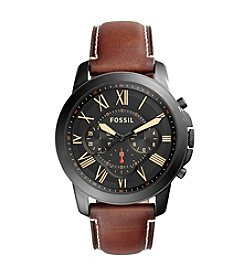 Fossil® Grant Chronograph Leather Strap Watch