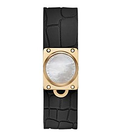 Michael Kors® Mother-of-Pearl and Black Silicone Tracker Bracelet