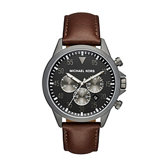 Michael Kors® Gage Leather Chronograph Watch