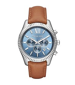 Michael Kors® Lexington Stainless Steel And Leather Chronograph Watch