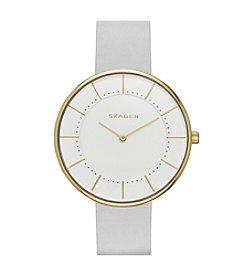 Skagen® Gitte Leather Strap Watch