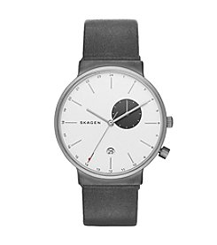 Skagen® Ancher Titanium and Leather Dual-Time Watch