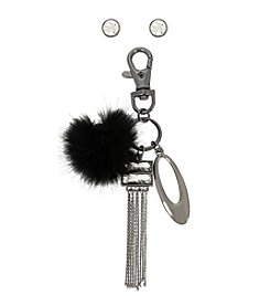 M. Haskell® Faceted Stone Stud Earrings and Pom Pom Mixed Charm Key Chain Set