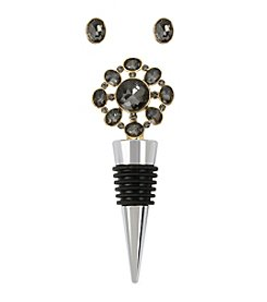 M. Haskell® Faceted Stone Stud Earrings and Flower Wine Stopper Set