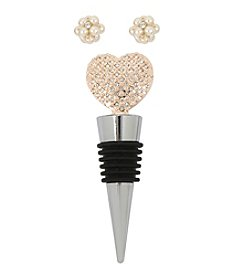 M. Haskell® Pearl Cluster Stud Earrings and Pave Heart Wine Stopper Set