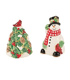 Fitz & Floyd® Holly Berry Snowman Salt And Pepper