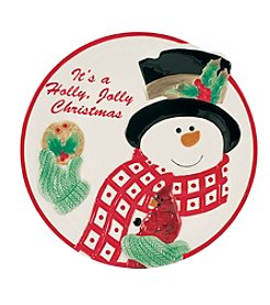 Fitz & Floyd® Holly Berry Snowman Cookie Plate