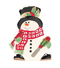 Fitz and Floyd® Holly Berry Snowman Snack Plate With Spreader