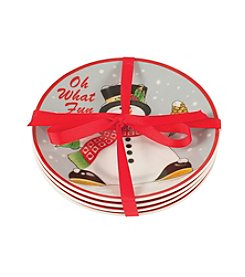 Fitz and Floyd® 4-pc. Holly Berry Snowman Snack Plates