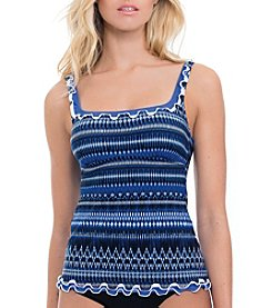 Profile by Gottex® Indigo Girl Patterned Tankini Top