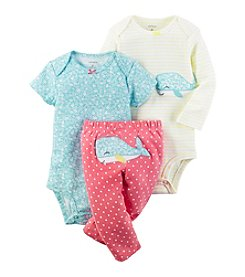 Carter's® Baby Girls' 3-Piece Floral Whale Set