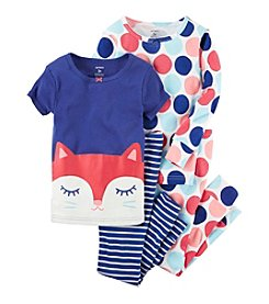 Carter's® Girls' 4-Piece Sleepy Fox Pajama Set