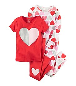 Carter's® Girls' 4-Piece Glitter Hearts Pajama Set