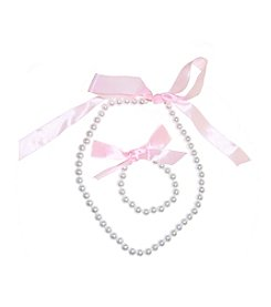 Riviera RC Girls' Pearl & Bow Necklace And Bracelet Set
