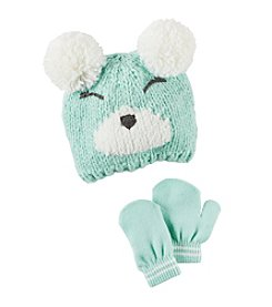 Carter's® Baby Girls' Bear Pom Hat and Mittens Set