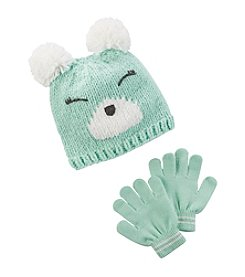 Carter's® Girls' 2T-4T Bear Pom Hat and Gloves Set
