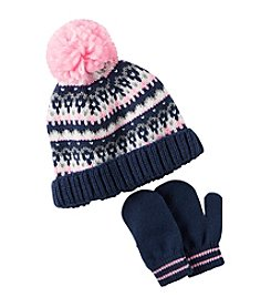 Carter's® Girls' 2T-4T Fairisle Pom Hat and Mittens Set
