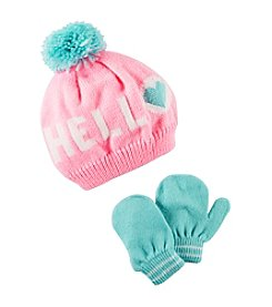 Carter's® Baby Girls' Hello Pom Hat and Mittens Set