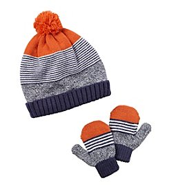 Carter's® Boys' Striped Pom Hat and Mittens Set