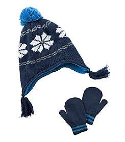 Carter's® Boys' Fairisle Pom Hat and Mittens Set