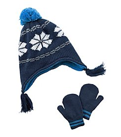 Carter's® Boys' Fairisle Pom Hat and Mittens Set