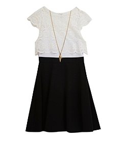 Rare Editions® Girls' 7-16 Lace Popover Dress