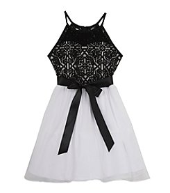 Rare Editions® Girls' 7-16 Halter Lace Fit and Flare Dress