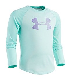 Under Armour® Girls' 2T-6X Long Sleeve Glitter Logo Tee