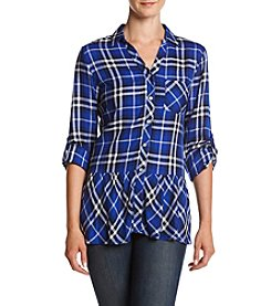 Sequin Hearts® Plaid Peplum Top
