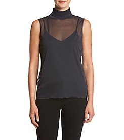 Calvin Klein Sheer Mockneck Top