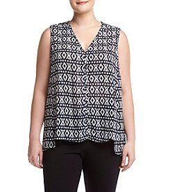 Jones New York Plus Size Mosaic Print Top