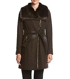 Via Spiga® Faux Fur Collar Coat