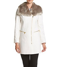 Via Spiga® Faux Fur Collar Coat