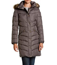 MICHAEL Michael Kors® Chevron Seamed Fur Trim Coat