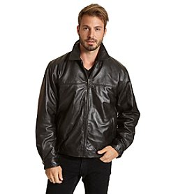 Excelled Men's Shirt Collar Leather Jacket